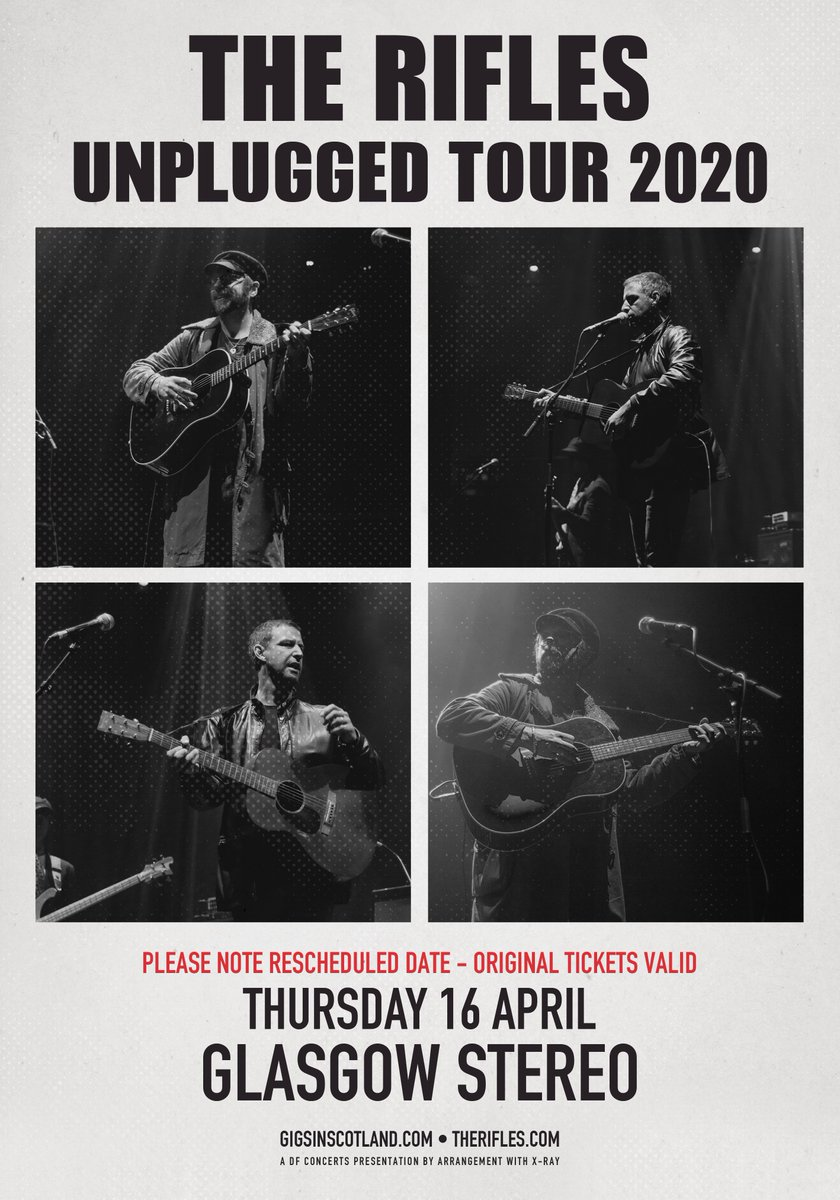 SHOW UPDATE » Please note that @theriflesband Unplugged show at @stereoglasgow that was originally due to take place on 8th February has been re-scheduled to 16th April  Original tickets remain valid. Refunds available from point of purchase for anyone unable to make new date