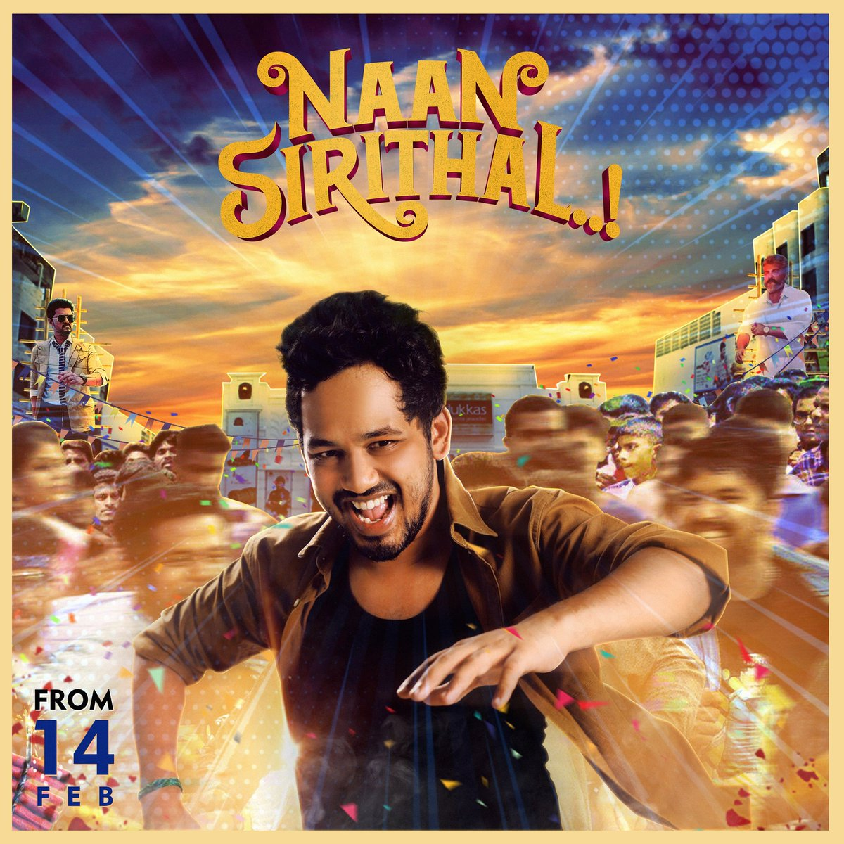 Happy to release the common DP of #NaanSirithal on behalf of all @hiphoptamizha Anna's fans :)  Get ready to laugh out loud with Gandhiiiiiii💥❤️ #NaanSirithalFromFeb14 Design by @yasirnizardeen2