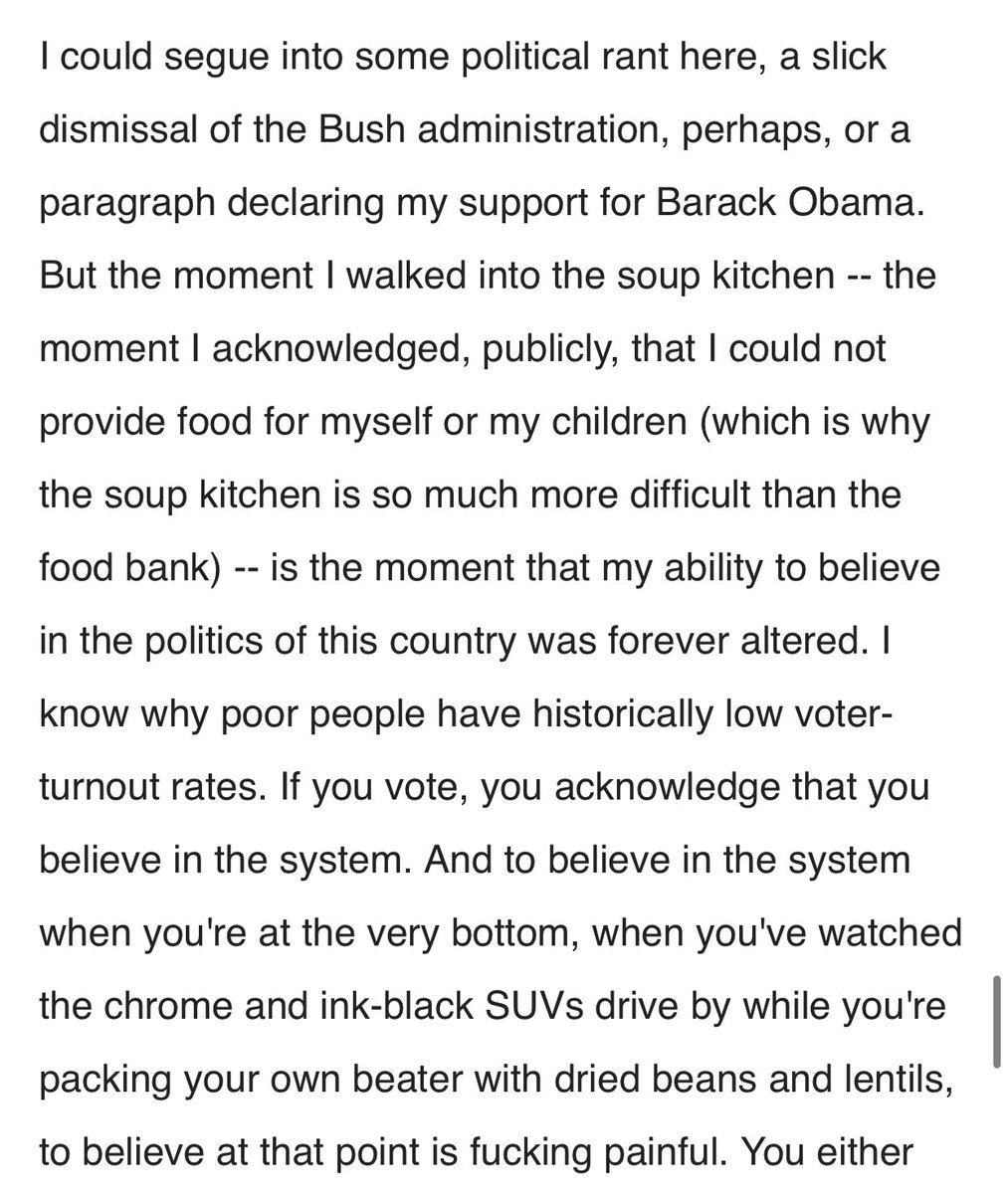 """but what really changed my mind, what finally made me say """"this is more important than voting for a woman"""" was reading this paragraph of my mom's essay about politicians"""