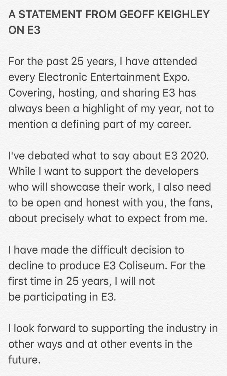 I wanted to share some important news about my plans around E3 2020.