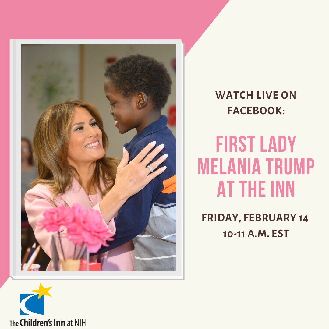 We're pleased to welcome back @FLOTUS to The Children's Inn at @NIH, for the third year in a row, this Friday for a Valentine's Day party with Inn families. Watch LIVE on our Facebook page Feb. 14 from 10-11 a.m. EST.  #FLOTUSatTheInn