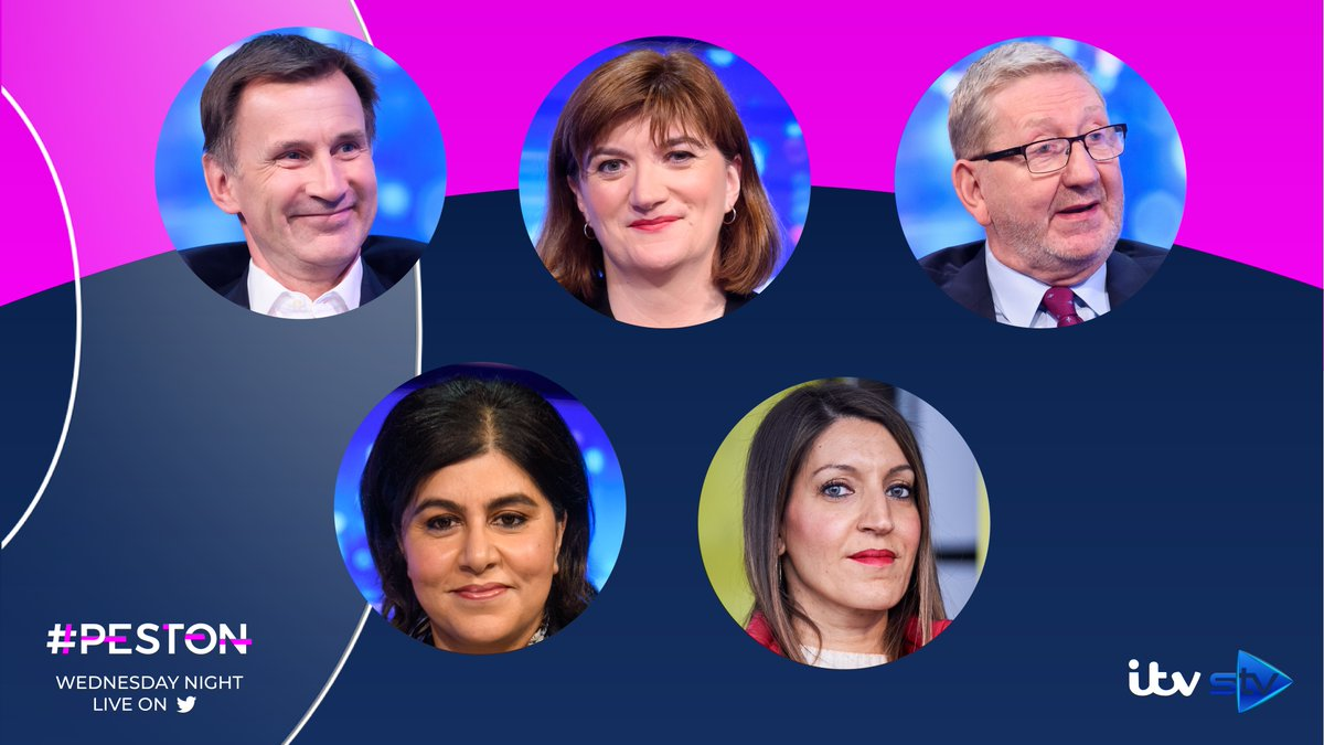 It's a reshuffle special this week and we have a front bench line-up including @Jeremy_Hunt, @NickyMorgan01, @LenMcCluskey, @SayeedaWarsi and @DrRosena.   Join us LIVE on Twitter and @ITV from 10.45pm #Peston