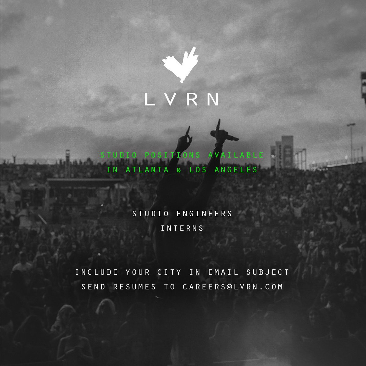 Atlanta & LA 🗣 we have Studio Positions available!! Send Resumés and Cover letters to Careers@lvrn.com ✍🏿 Please include your city in the subject of the email 🤍