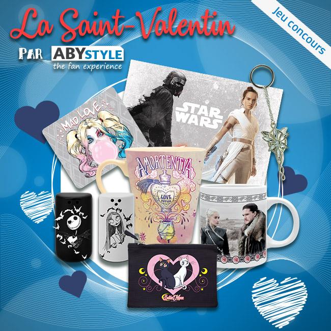 ❤ #CONCOURS #SaintValentin ❤ Fini les fleurs et les chocolats ! 😄 Tentez de remporter notre pack Geek & Romantique by ABYstyle ! 😍 ▶ Pour participer : RT+FOLLOW @_ABYstyle