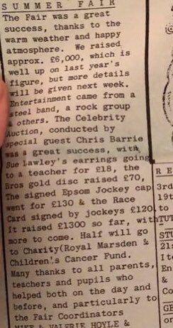 The auction lots at my school's 1989 summer fair were quite something