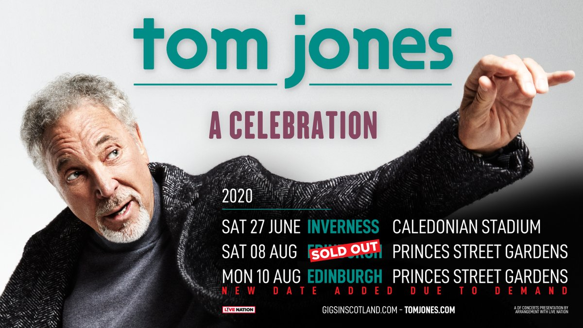 ANNOUNCED » @RealSirTomJones has added an extra show at Edinburgh @SmmrSessions on Monday 10th August due to demand!  Tickets on sale Friday at 10am.