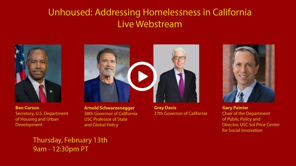 "The @GovArnoldUSC & @USCPriceCSI summit on #homelessness, ""Unhoused: Addressing Homelessness in California,"" starts now. Watch the live webstream here:   @Schwarzenegger @GaryDeanPainter @SecretaryCarson @GovernorDavis #EndHomelessness"