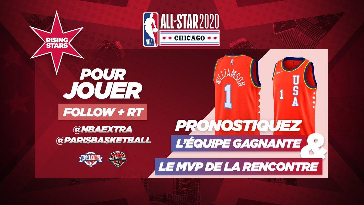 🎁 #NBAExtra vous offre le maillot de Zion Williamson !  🔮 Rising Stars : Pronostiquez l'équipe gagnante & le MVP de la rencontre !  👉 Pour jouer, Follow + RT @NBAExtra & @parisbasketball !  🚨 Limite de participation : début du match !