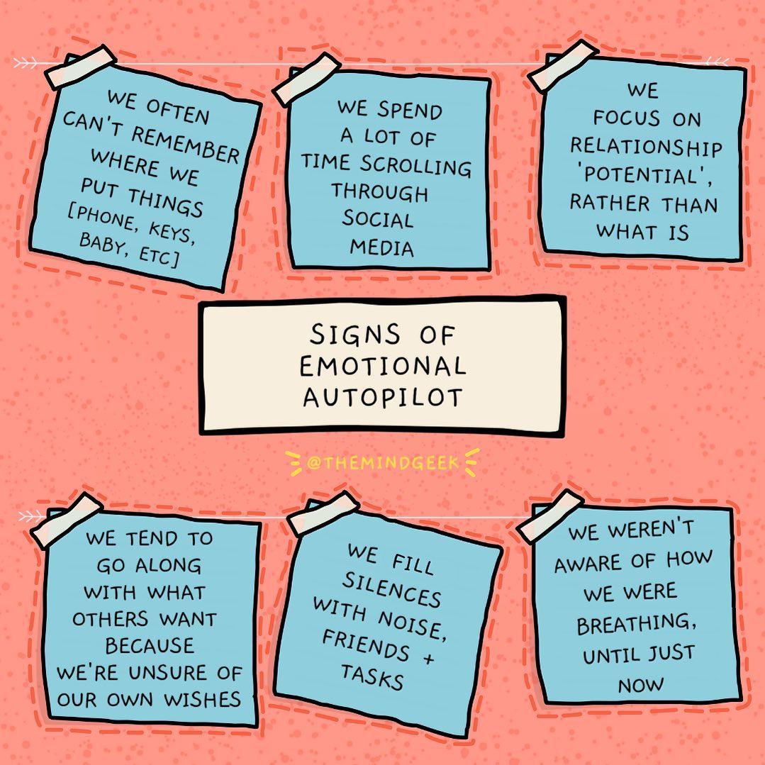 Signs of emotional autopilot...  Image: Instagram #mindfulness https://t.co/RQH8chWj1M