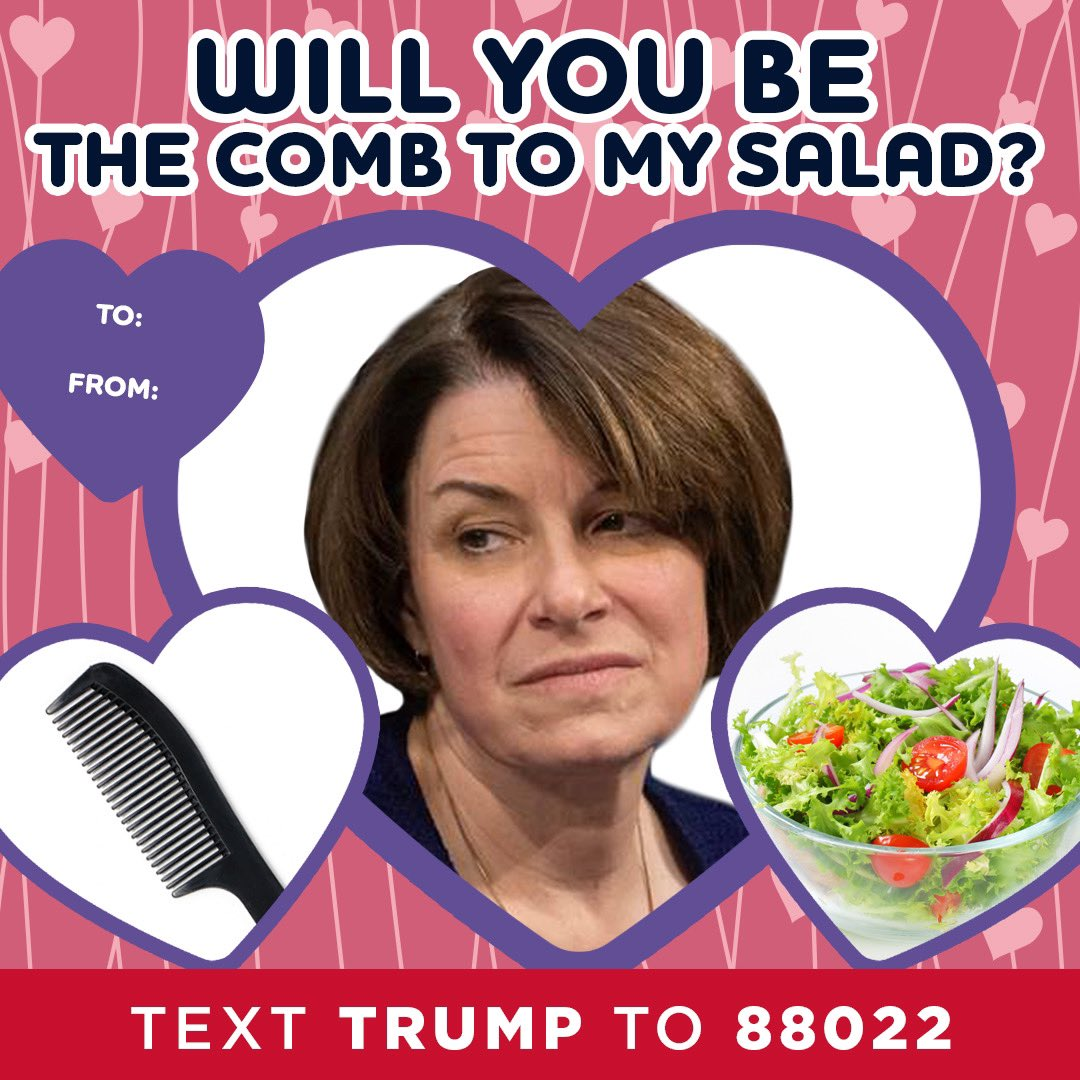 Amy Klobuchar: Will you be the comb to my salad?