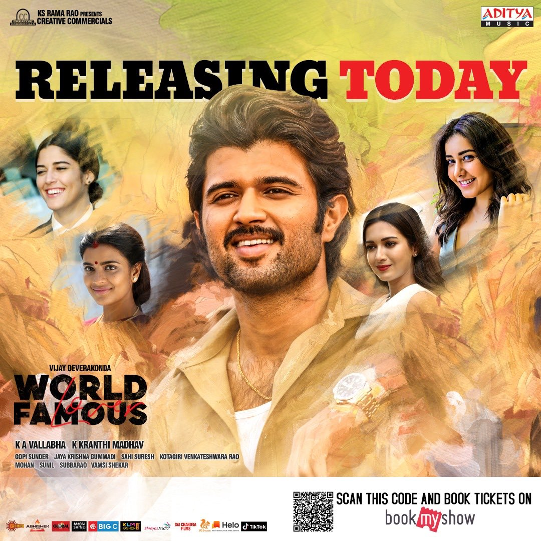 Releasing today #WorldFamousLover... watch it only in theatres ... @CCMediaEnt @TheDeverakonda @RaashiKhanna @CatherineTresa1 @izabelleleite25