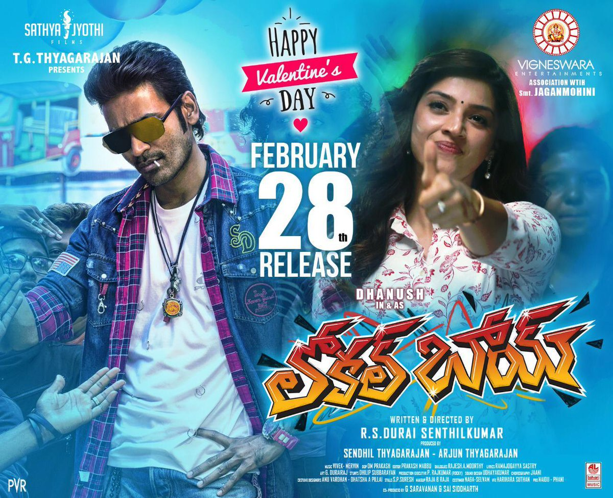 #LocalBoy wishes you all a #HappyValentinesDay   Grand Release On Feb 28th.  Listen to the songs here:   @dhanushkraja @durairsk @Mehreenpirzada @Naveenc212 @MervinJSolomon @iamviveksiva @actress_Sneha @SathyaJyothi_ @VigneswaraEnt @LahariMusic