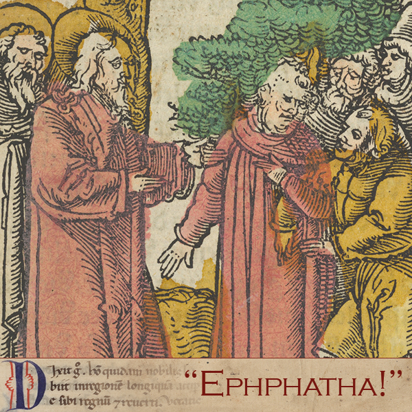 """#Gospel of the Day (Mark 7,31-37) He put his finger into the [deaf] man's ears and, spitting, touched his tongue; then he looked up to heaven and groaned, and said to him, """"Ephphatha!"""" (that is, """"Be opened!"""")"""