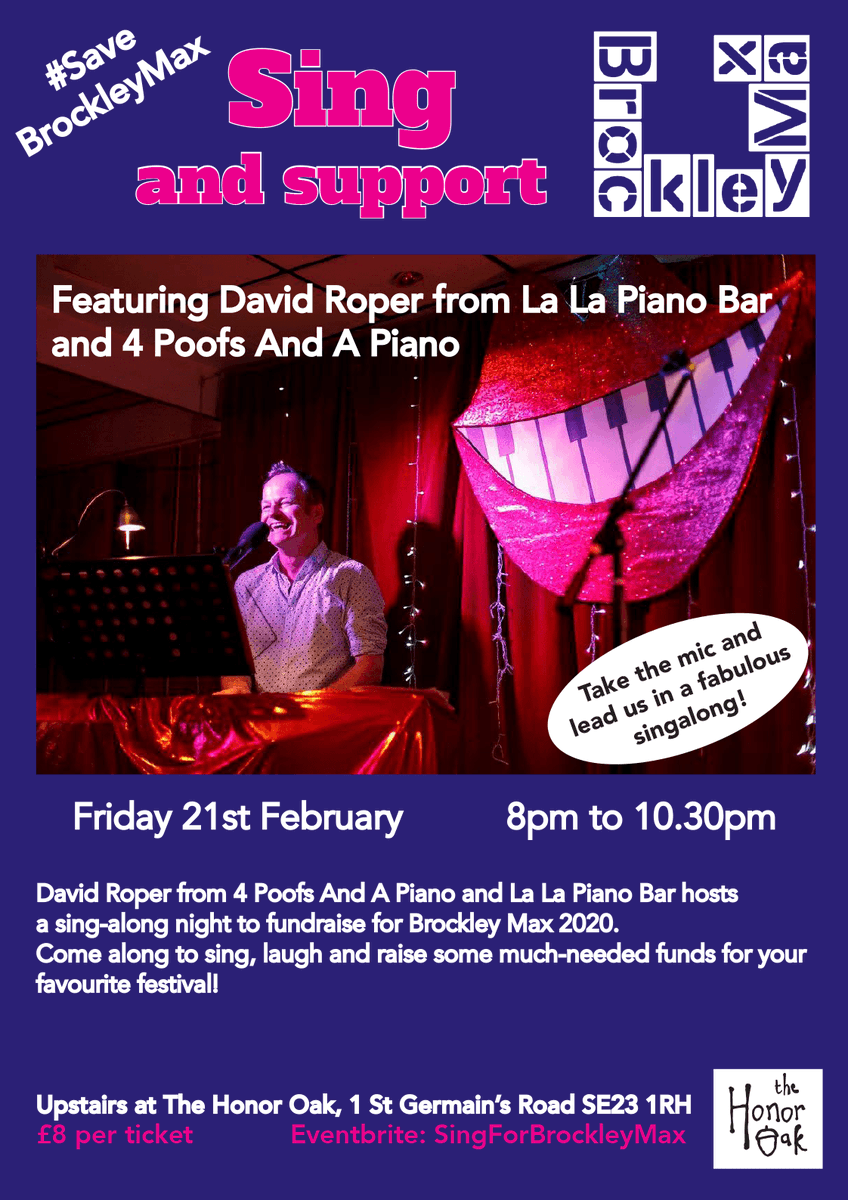 Grab some friends, have some drinks & come sing NEXT Friday 🤩  David Roper of '4 poofs and a piano' & @lalapianobar is hosting a fundraiser for BMax!   Fri 21st Feb 8pm - 10.30pm @TheHonorOak_Pub 1 St Germain's Road SE23  Tickets £8 +fee:   @livingsouth