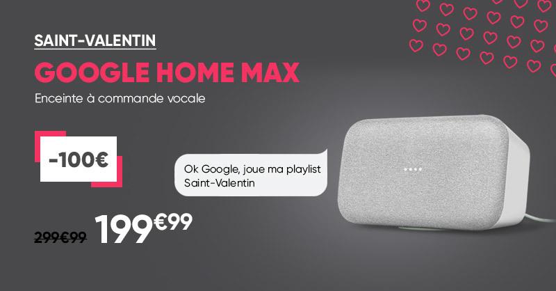 🎙 Ok Google, fais-moi un slam romantique. 💕 Pour la Saint-Valentin, offrez-vous ou à votre être cher l'enceinte à commande vocale Google Home Mini Max à 199.99€ seulement, au lieu de 299.90€ 🤩 >