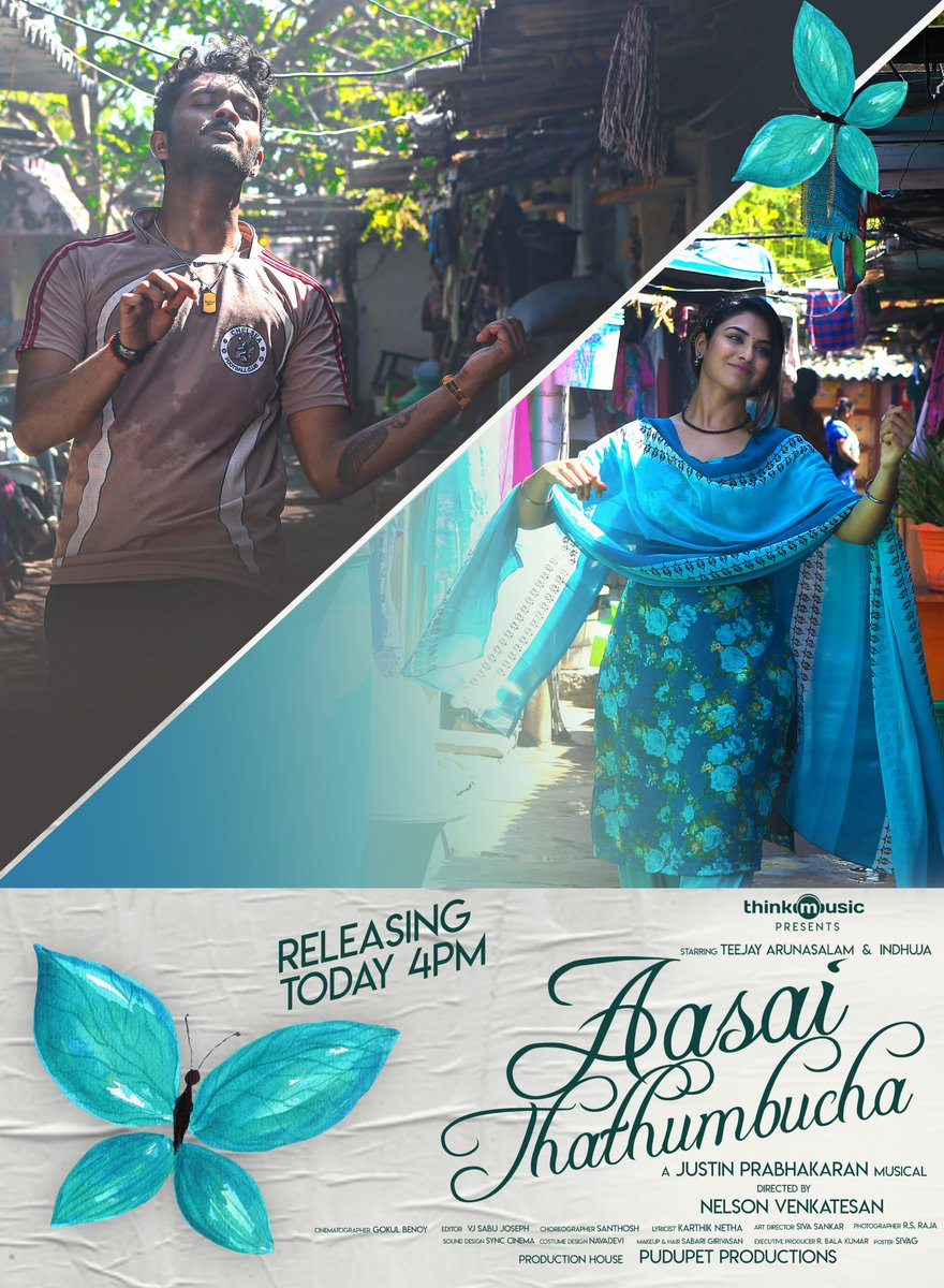 On Valentine's Day @thinkmusicindia  celebrates Love with #AasaiThathumbucha  Starring @Actress_Indhuja & @Iamteejaymelody🎤 Music Video Releasing Today at 4 PM !!  Directed by @nelsonvenkat 🎬 A @justin_tunes Musical 🎵 Edit by @editorsabu ✂️ Shot by @gokulbenoy 🎥 #PosterKadhal