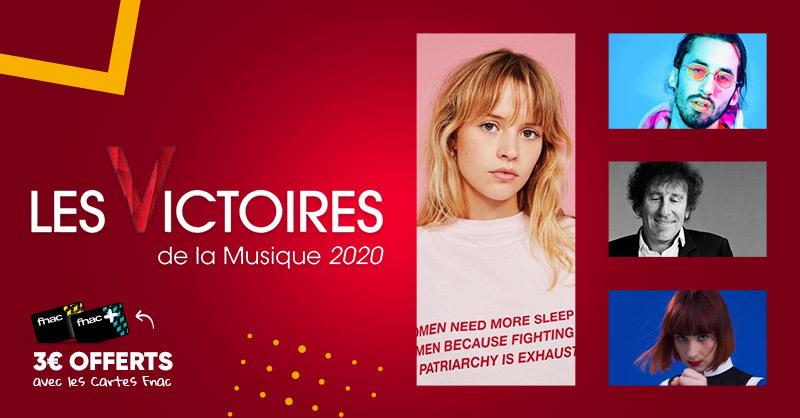 #BonPlan adhérent 💿 : Les Victoires de la Musique 2020, c'est ce soir ! Profitez de 3€ offerts sur les albums nommés 😍 >
