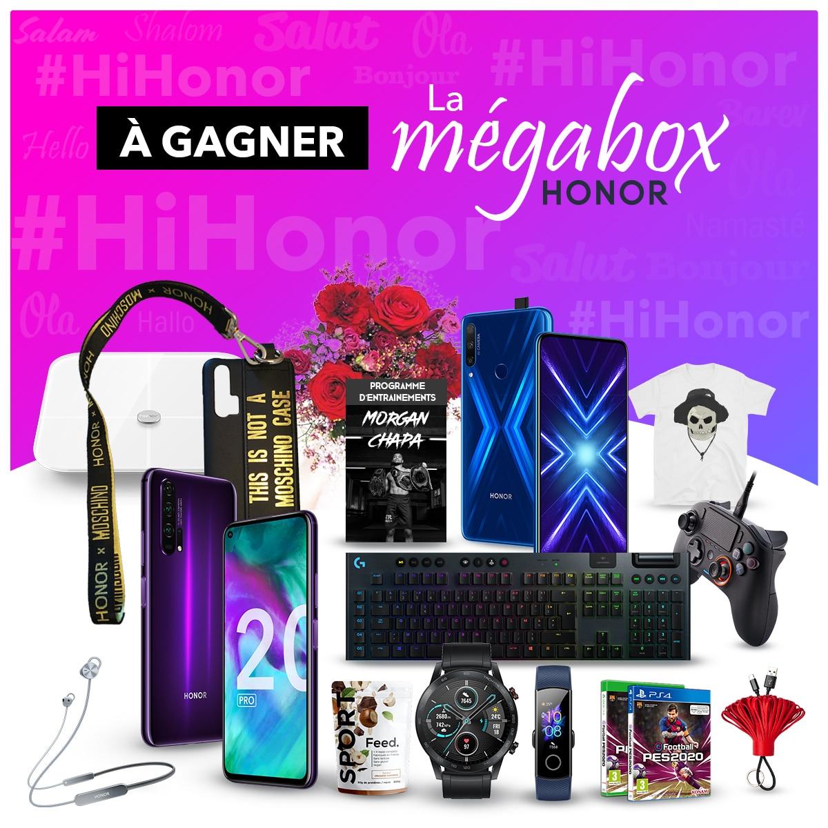 Pour le lancement de #HIHONOR la MégaBox HONOR est à gagner ! 😱  Tentez de remporter tous les lots présents sur l'image 🎁  Pour participer :  🔄 RT & follow @Honor_FR  Retrouvez toutes nos offres sur ➡   Une personne sera tirée au sort le 21/02/2020 🍀