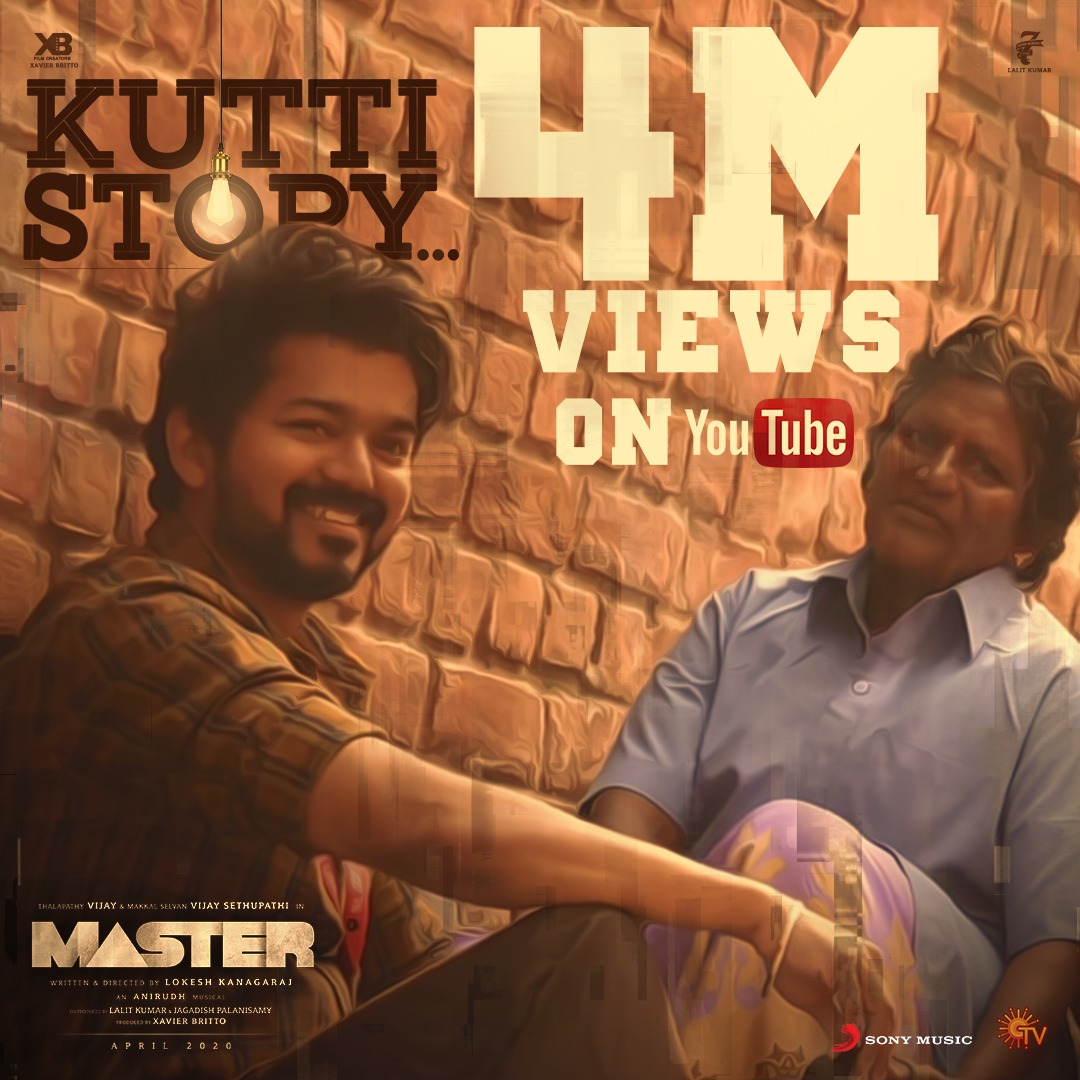 TRENDING with 4️⃣ MILLION real-time views! ❤️🎶  #Thalapathy's #KuttiStory ➡️   @actorvijay @VijaySethuOffl @Dir_Lokesh @anirudhofficial @Jagadishbliss @XBFilmCreators @Arunrajakamaraj   #NoTensionBaby #Master #MasterSingle