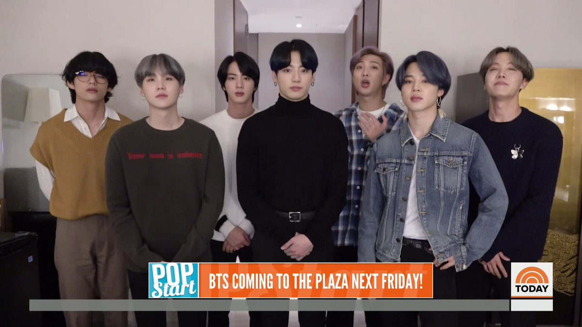 "Don't miss @BTS_twt on the TODAY plaza! They're stopping by for a special interview when their new album ""Map of the Soul: 7"" drops next Friday."