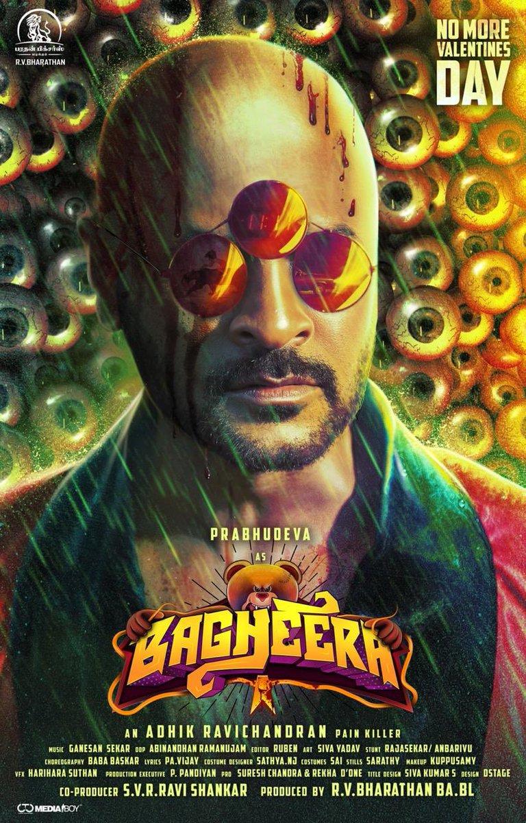 Extremely Impressive First Look of #Bagheera starring my good friend  @PDdancing master. Best wishes to the team.  @Adhikravi   @RVBharathan @AmyraDastur93 @AbinandhanR @AntonyLRuben @Ganesansmusic88 @NjSatz @DoneChannel1 @CtcMediaboy