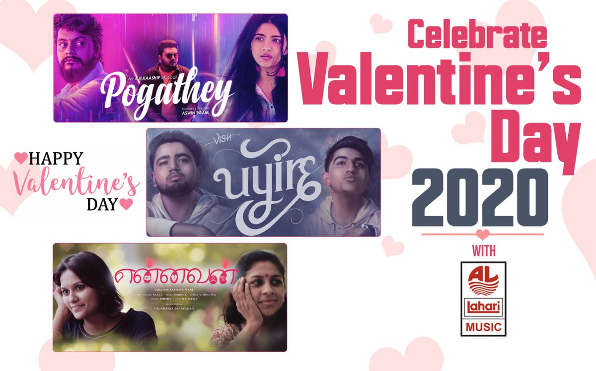 Celebrate this Valentine's Day with your loved ones by listening this beautiful melodious tracks ❤  #Pogathey Music Video:  #Uyire Music Video:  #Ennavan Music Video:   #HappyValentinesDay