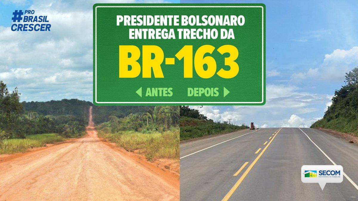 O presidente @jairbolsonaro inaugura, nesta sexta-feira (14), a BR-163/PA, entre o trecho de Novo Progresso a Miritituba. Aguardada há 40 anos, a obra é resultado do esforço do @MInfraestrutura e do @exercitooficial, e deixará o País mais competitivo.