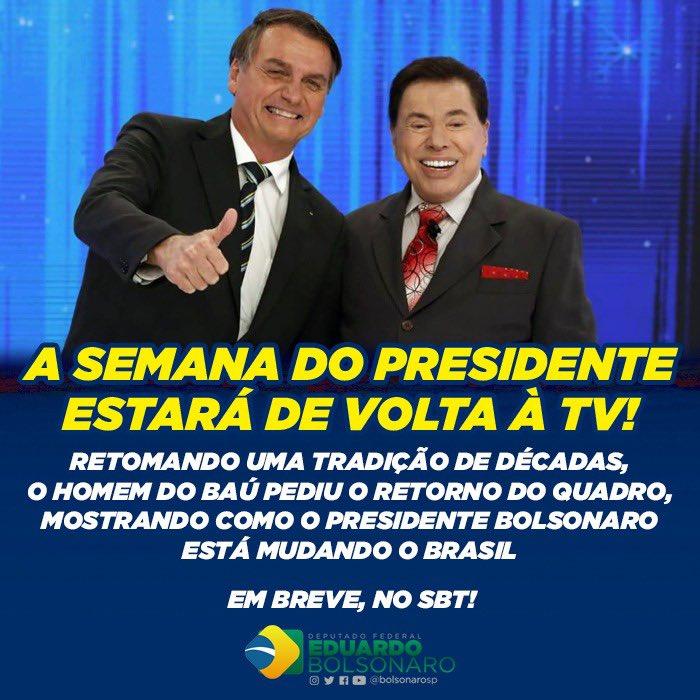 Quando eu era criança, lembro de assistir A SEMANA DO PRESIDENTE no SBT, mostrando toda semana as decisões que mudavam a vida do povo brasileiro  Agora, a pedido de Silvio Santos, esta tradição será retomada, trazendo detalhes de como @JairBolsonaro está transformando o Brasil 🇧🇷