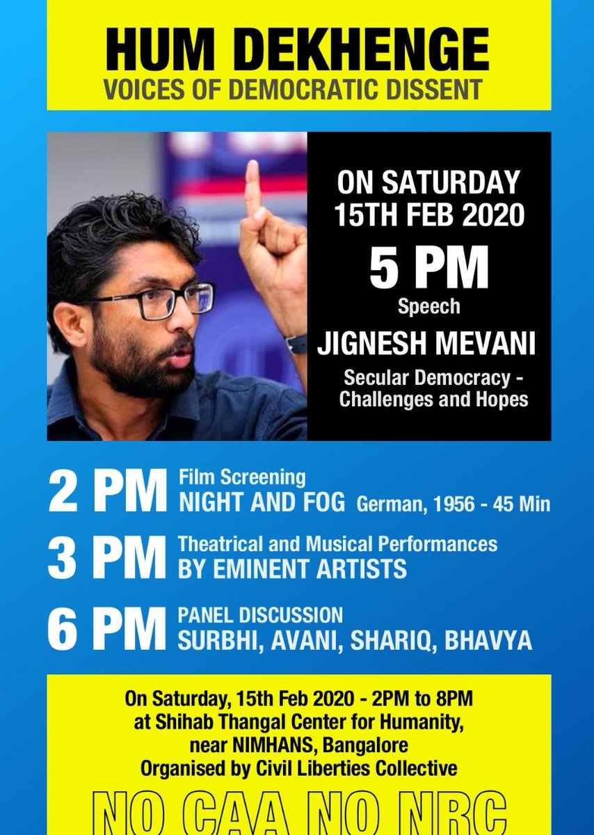 Friends and comrades in Bangalore, hope to see u there, join young voices of dissent as we all speak up against this fascist legislation #NoCAA #NoNRC #NoNPR