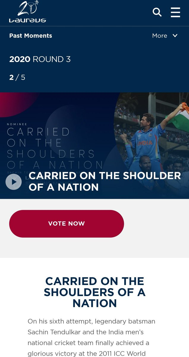 Saaachin Sachin 👏👏👏 !!  Carried on the Shoulders of a Nation, time to relive, Vote for Sachin Paaji and get this 🏆 as well in #LaureusSportingMoments.   Have you Voted Yet ?  Go Vote 👉    #Laureus20 #SportUnitesUs @sachin_rt @LaureusSport