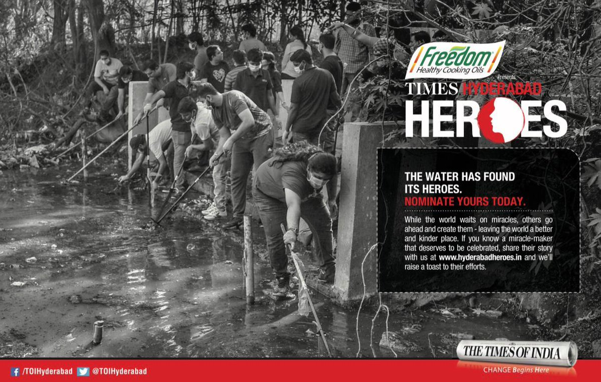 Freedom Healthy Cooking Oil Presents Times #HyderabadHeroes   Let's honour true heroes from #Hyderabad.   Hyderabadis can nominate people from the city who work for a good cause, whether big or small, by logging on to   @TOIHyderabad