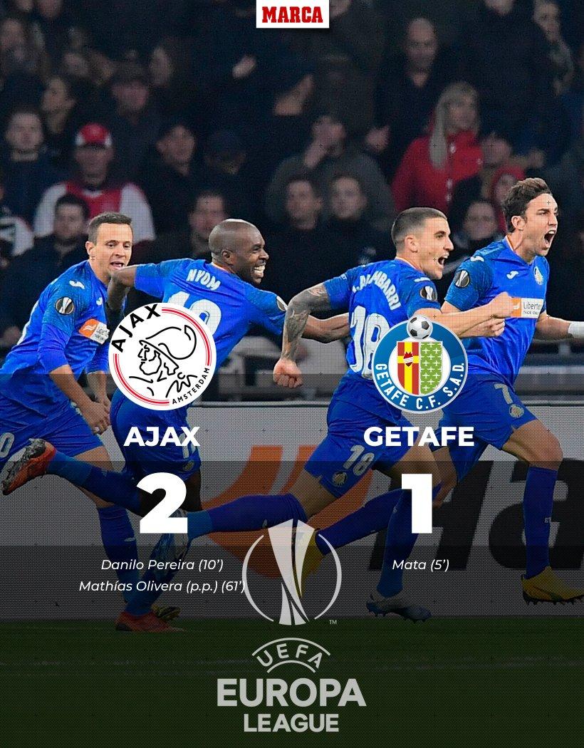 💪 ¿Dónde está el techo de este @GetafeCF? 🔵  ⚽ Perdió contra el Ajax, pero sigue haciendo historia y se clasifica para octavos de final de la #EuropaLeague 👏 https://t.co/ioEsfnKboH