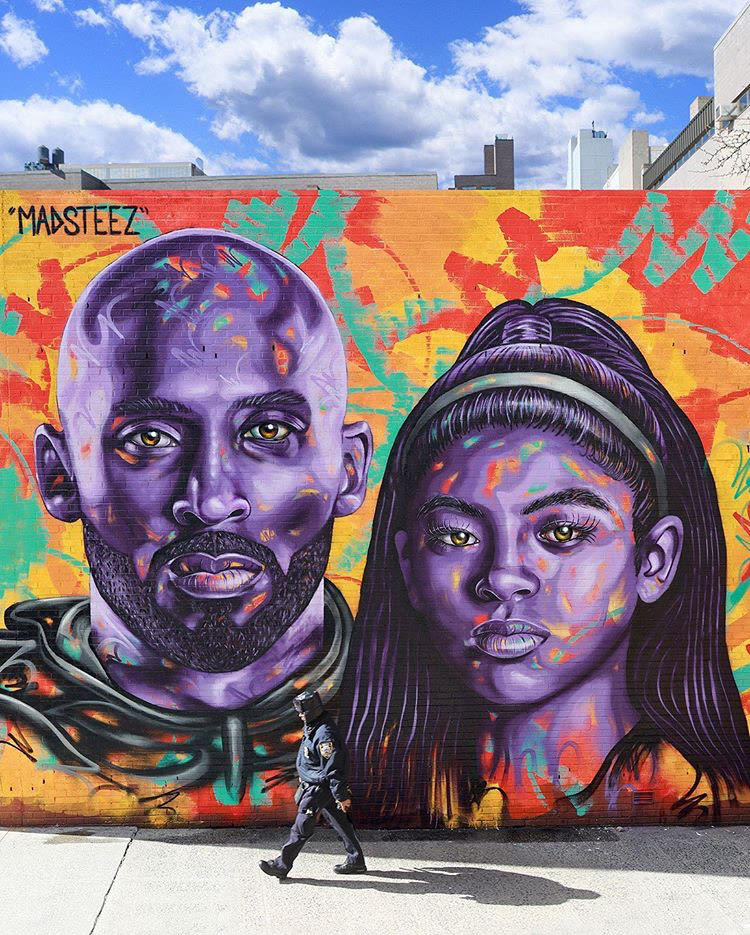 New mural up in the East Village 💜💛   (via @MADSTEEZ)