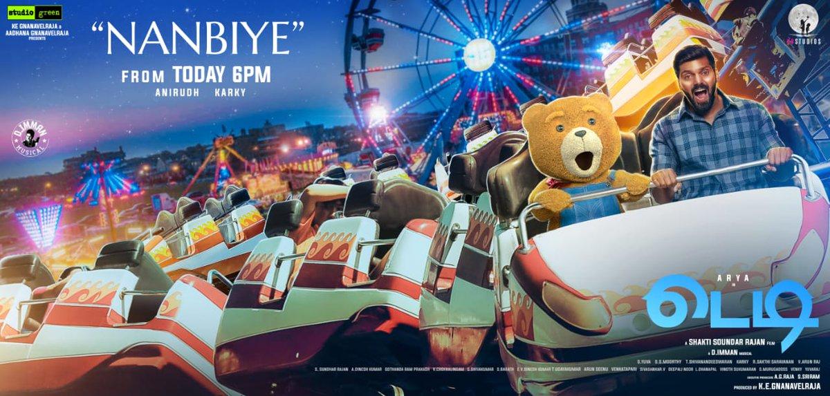 #Nanbiye, the second single from #Teddy, releasing today at 6 pm!  🎙 @anirudhofficial 🎼 @immancomposer  📃 @madhankarky  @arya_offl @sayyeshaa @ShaktiRajan @kegvraja @StudioGreen2 @K9Studioz @thinkmusicindia @proyuvraaj