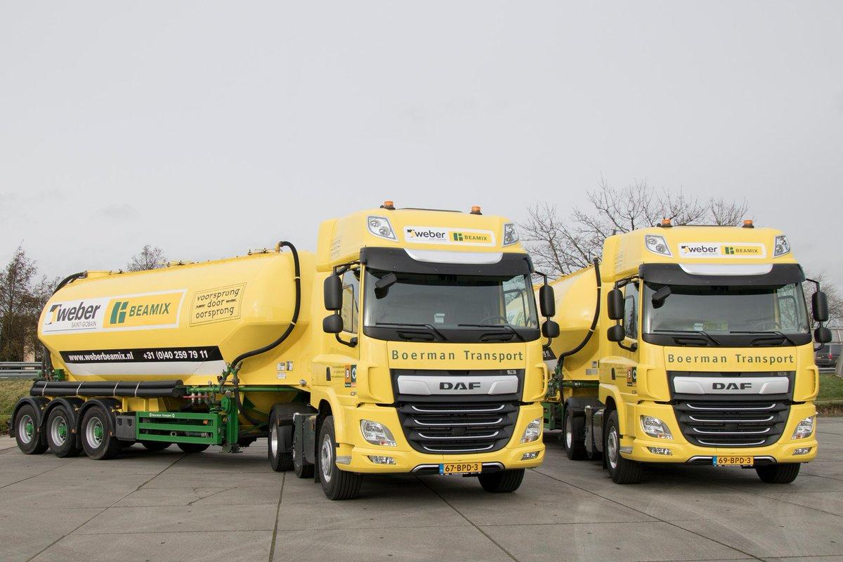 test Twitter Media - #BoermanGroep: in gebruik genomen bij #BoermanTransport de 293&296. Beide DAF-CF combinaties zijn te bewonderen op de (bouw)wegen en worden ingezet voor onze klant, Saint-Gobain Weber #Beamix uit Eindhoven, leverancier van de beste mortel van de Benelux. #bulktransport #trots 👍 https://t.co/HiCFwTGsb8