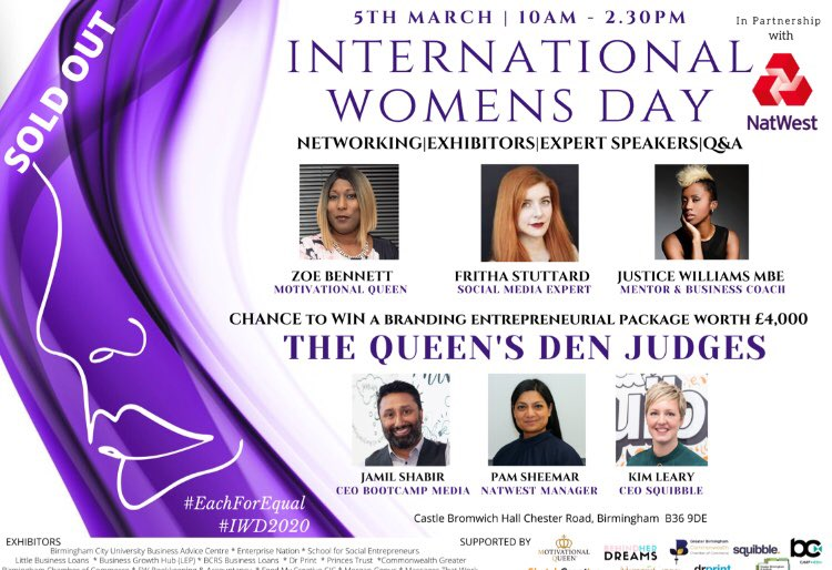 🔥Delighted 🔥that the upcoming QUEEN'S DEN INTERNATIONAL WOMENS day event in partnership with NATWEST is SOLD OUT. Delighted to be #judge on Wednesday 5th March 10.00am-14.30pm. Let's see who is Pitch Perfect🔥 in great company with Jamil Kim O'Leary👌