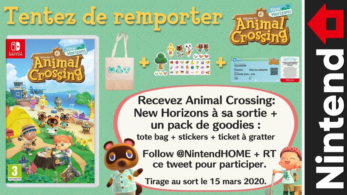🎁 Concours– Follow @NintendHOME et RT ce tweet pour tenter de gagner Animal Crossing: New Horizons + un tote bag, une planche de stickers et un ticket à gratter pour un mois d'abonnement Nintendo Switch Online. Fin du concours et tirage au sort le 15 mars.