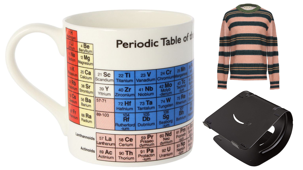 Some of Q's items in #NoTimeToDie - McLaggan mug, Marni Sweater and Amazon Basics Laptop Stand