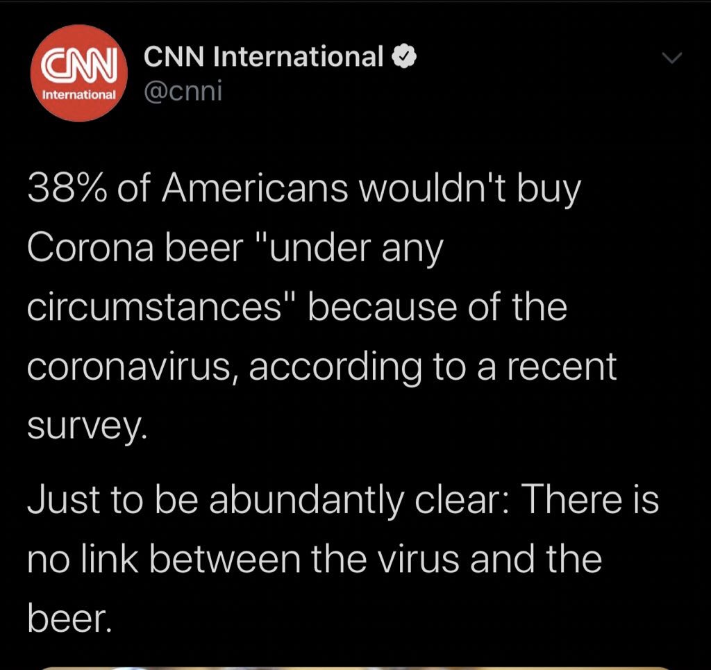 People who won't buy Corona beer because of coronavirus? 38%  People who have Bernie Sanders as their top choice for 2020? 38%  People who view socialism positively? 38%  Coincidence?  You can't make this stuff up. 😂😂😂
