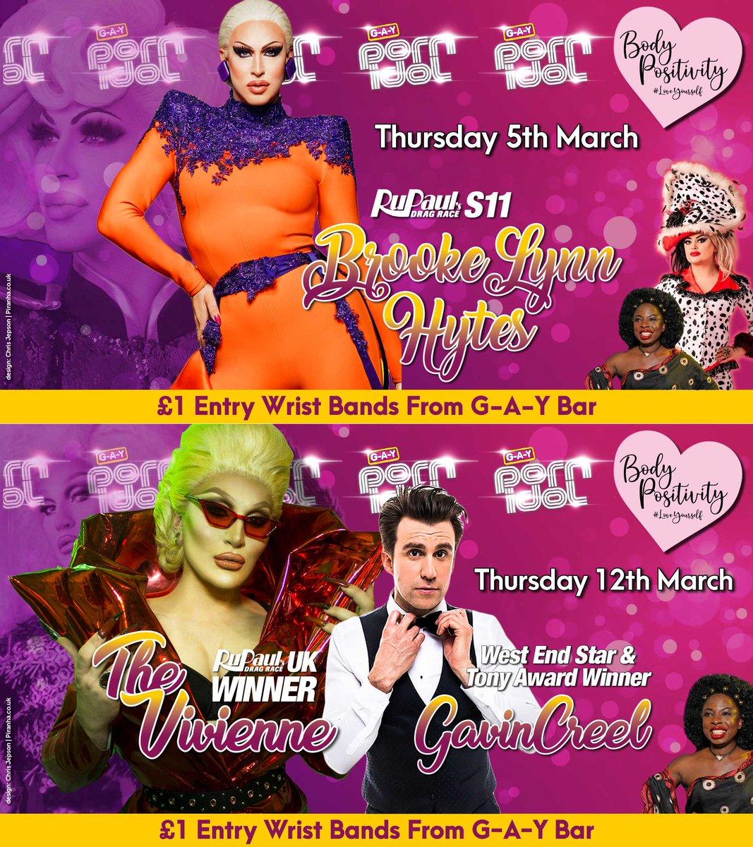 G-A-Y Porn Idol Judges   Next Thursday  @RuPaulsDragRace S11 Runner Up @Bhytes1  @dragraceukbbc 🍟 @ChipShopBird  @SonofaTutu   Thurs 12th March  @dragraceukbbc Winner @THEVIVIENNEUK  Tony Award Winner @gavincreel  @SonofaTutu   #DragRace #BodyPositivity #LoveYourself #Heaven40