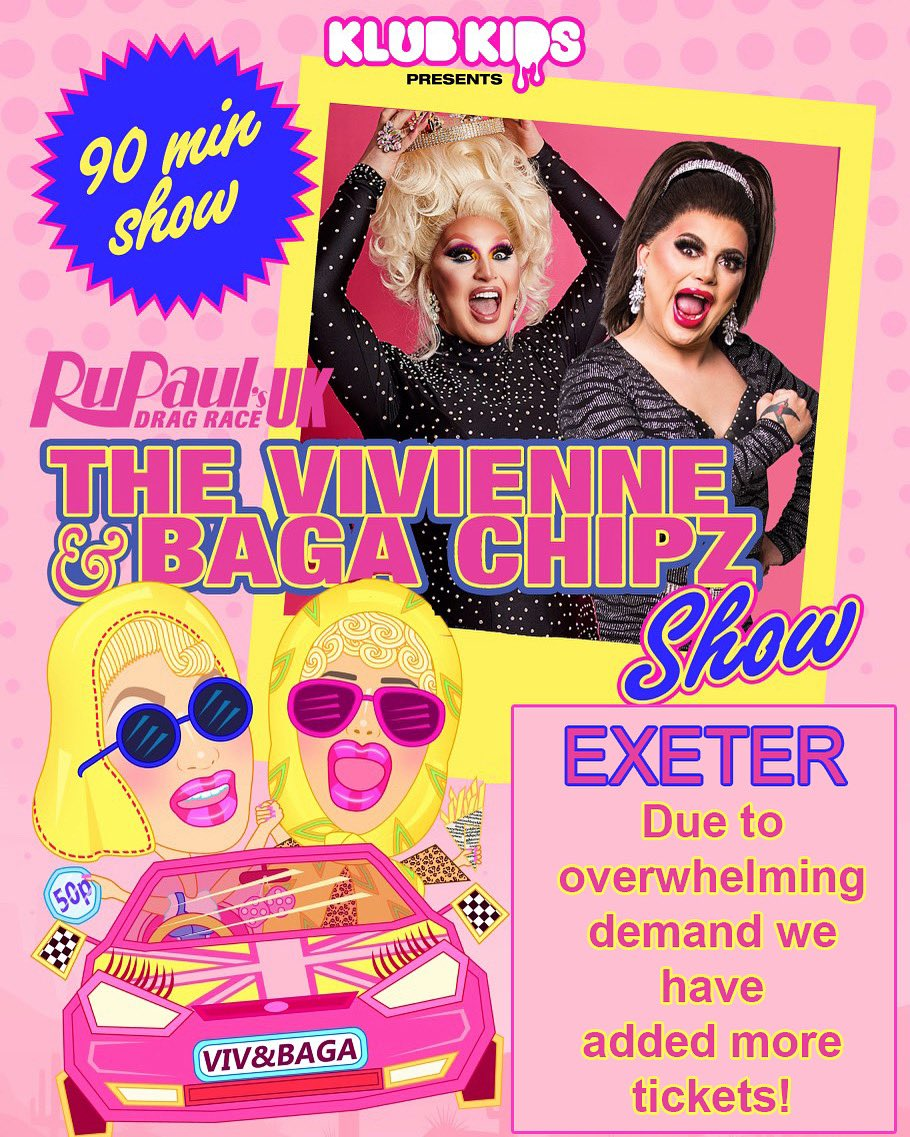 EXETER! Due to *overwhelming* demand we have added more tickets! @THEVIVIENNEUK @ChipShopBird  ⠀ Book now at  to avoid disappointment! 🎫