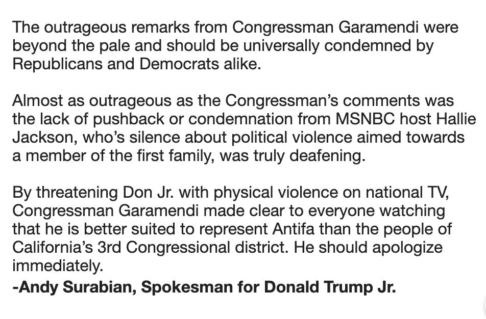 Oh no you didn't...@DonaldJTrumpJr spox @Surabees responds to the threat from @RepGaramendi