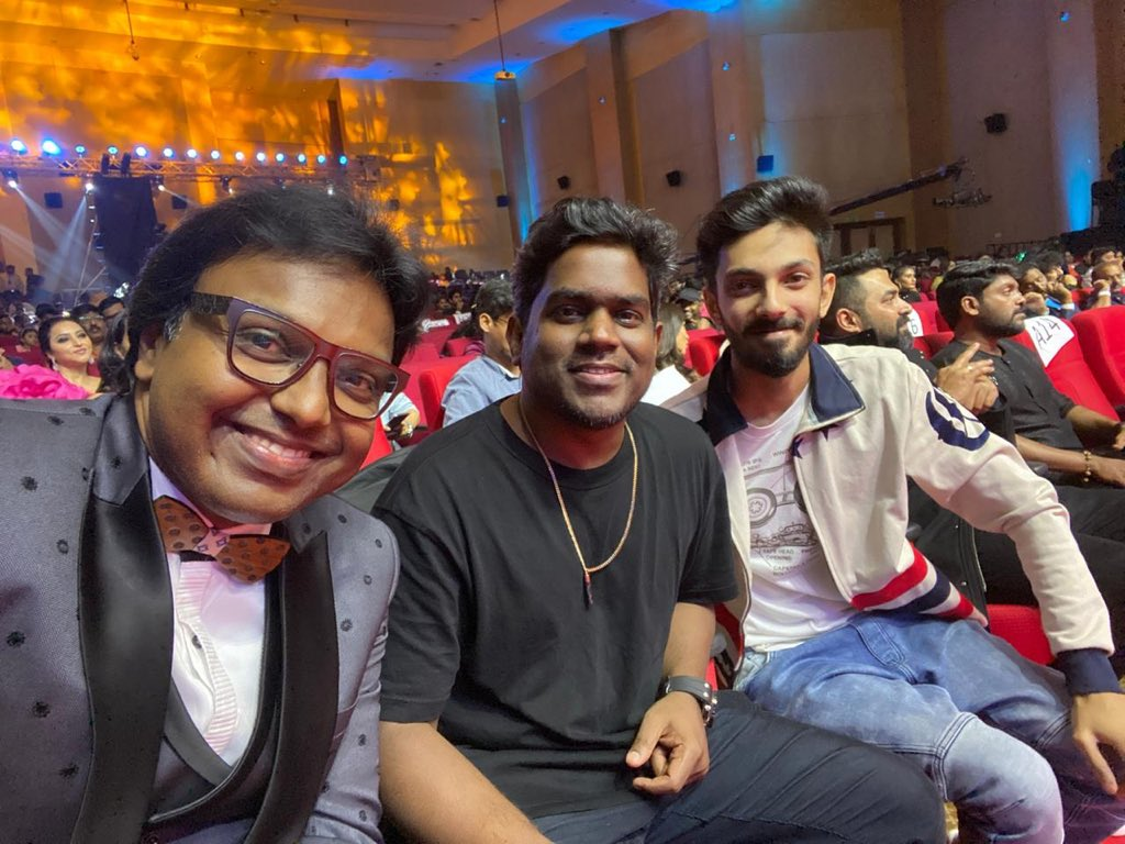 A pic to cherish thank you #MirchiMusicAwardsSouth @anirudhofficial @immancomposer