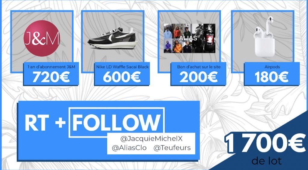 Concours 🎁 Les bg pour les 100k on vous offre des AirPods 1, une paire de Sacai Black, un abonnement J&M gratuit 1an et un bon d'achat sur Alias !  Tirage au sort le 05/03/2020 🔥⏳  Pour participer il suffit de RT le tweet et suivre :  @TeufeurSoff  @JacquieMichelX  @AliasClo