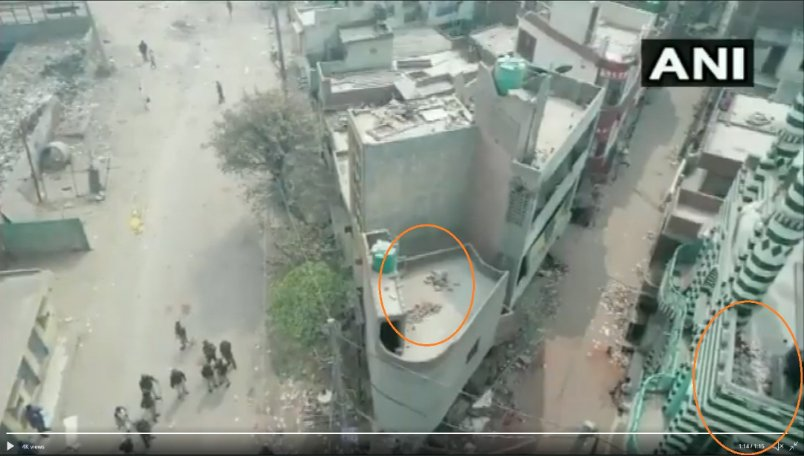 ANI released a video of drone visuals of violence-affected Delhi.  Video showed stones stored on the rooftop of a mosque & on the house in front of the mosque.  NDTV reported same, accrediting it to ANI. But NDTV cropped the mosque from the image & showed the house's terrace only