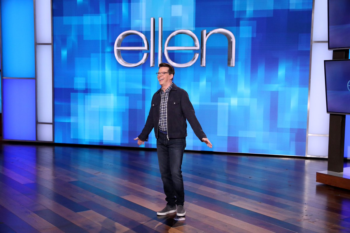 Ellen is letting me sit in the big chair again today to have some fun with my guest and dear friend, Jesse Tyler Ferguson.  Check local listings. 📸: Michael Rozman/Warner Bros. #EllenTube
