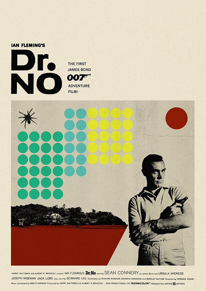 Super excited to reveal my latest self initiated side project I'm working on in the run up to #notimetodie i will be designing an #alternativemovieposter or #Illustration for each #jamesbond007 movie.  #fromrussiawithlove #DrNo #PosterDesign #Movie #Bond #JamesBond @007