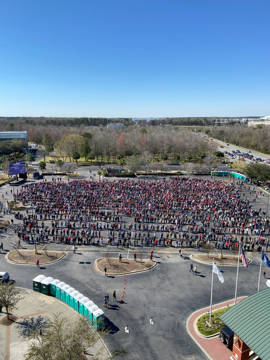 I have never seen anything like this!  Thousands lined up for the #Trump #KeepAmericaGreat2020 Rally @NChasColiseum #chs #chsnews photo credit: Jake Wilk