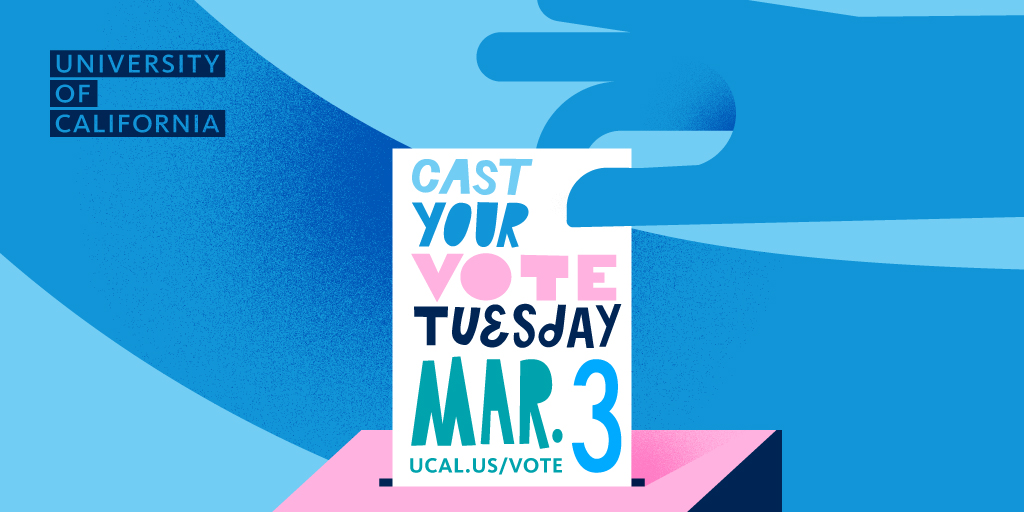 Tuesday, 3.3, is the Presidential Primary Election in California.  🗳️ Find out where on campus you can vote:  🗳️ Find out where you are assigned to vote:  🗳️Get info on same day voter registration on campus: