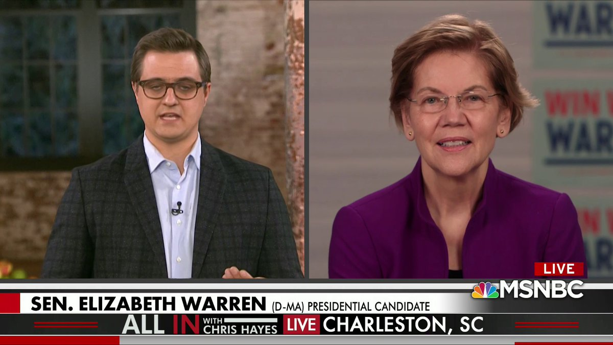 Live on @MSNBC:   Sen. Warren speaks to @chrislhayes during a special live broadcast from Charleston, South Carolina, ahead of the state's primary on Saturday.